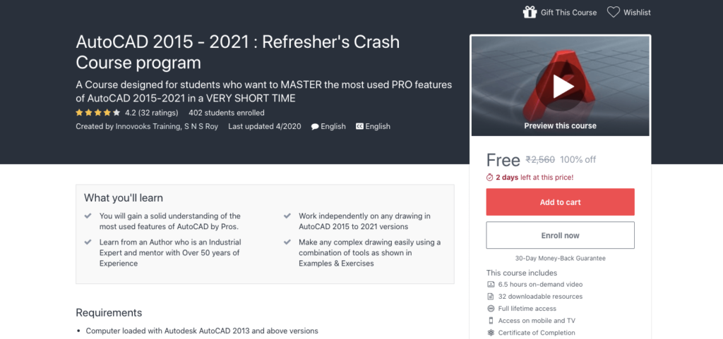 AutoCAD-2015-2021-Refreshers-Crash-Course-program