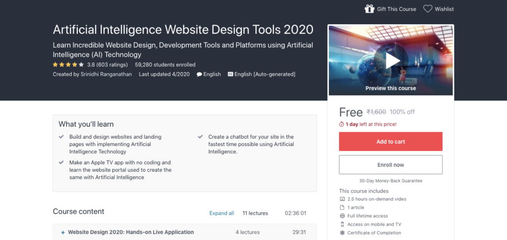Free-Artificial-Intelligence-Website-Design-Tools-2020-Course