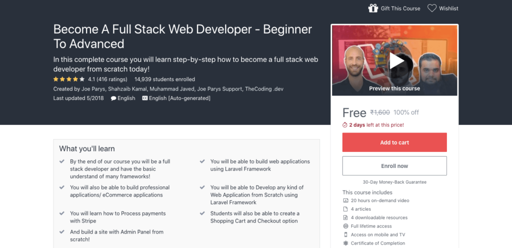 Free-Full-Stack-Web-Developer-Certification-Course